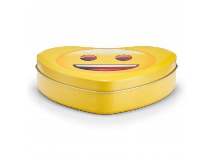 Praktická dárková krabička nebo drobné předměty s usměvavým obličejem, kovový materiál, žlutá barva, Zeller,