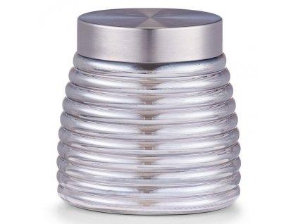 Skleněná nádoba, designový kontejner pro skladování potravin, dekorativní kuchyňské náčiní.