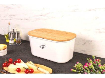 BreadBaker chléb kontejner s oboustrannou bambusovou řezací deskou