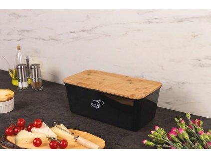 Chlebník s víkem, kontejner na chléb s prkénkem na krájení 2v1