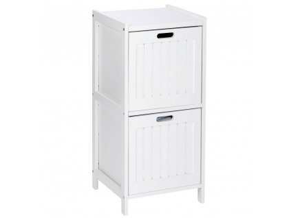 Oslo dřevěná police se dvěma prostornými zásuvkami v bílé barvě, ideální nejen pro koupelnu