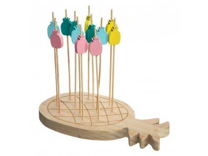 Bambus servírovací deska ve tvaru ananasu, dekorativní podnos s příslušenstvím