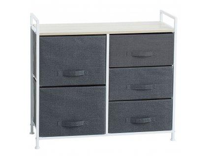 Skříň s pěti zásuvkami, textilní skříň s dekorativním vrcholem