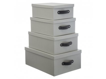 Sada krabic, 4 kusy v šedé, 5five Simple Smart