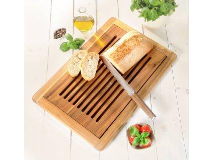 Deska na chleba s nádobou na drobky, akáciové dřevo, 47 x 32 cm