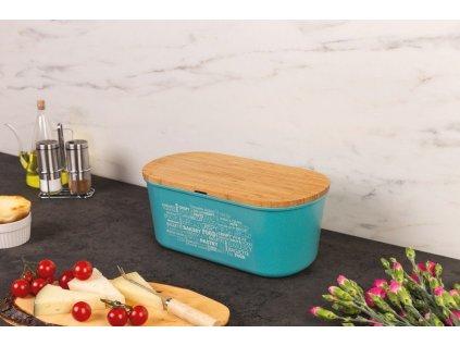Kontejner na chléb, krabice na chléb, 2-v1, modrá, KESPER
