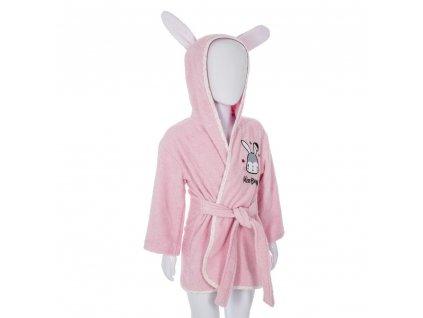 Růžový dětský župan, 3-6 let, králičí motiv, výška 102/114 cm