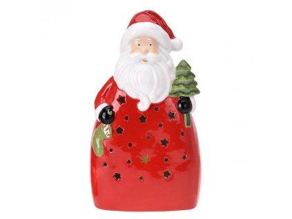 Figurka Santa Claus s LED osvětlením, červená s dárky, 30 cm