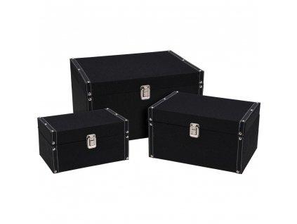Sada 3 úložných boxů, 3 velikosti, černá