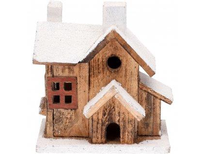 LED chata, dřevěná, Vánoční dekorace, 20 cm