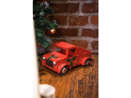 Červené auto kovové vánoční dekorace 14 cm
