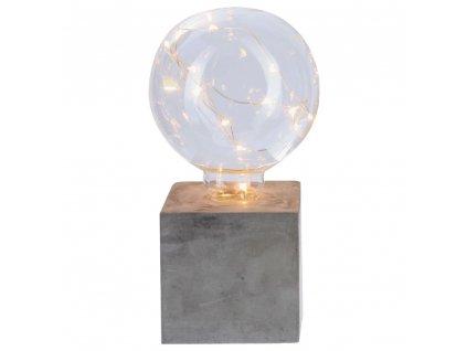 Dekorativní osvětlení, koule na čtvercovém podstavci, výška 18 cm