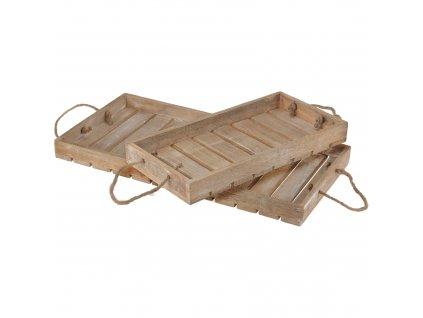 Dřevěný podnos pro vytváření kompozicí, 2 kusy, 60 x 30 x 5 cm, 40 x 20 x 4,5 cm
