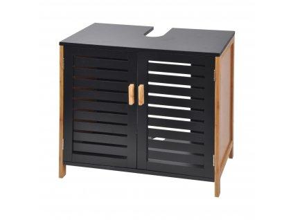 Skříň z bambusu, 60 x 30 x 60 cm, černá
