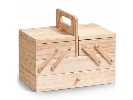 Dřevěný box na šicí potřeby - klasický s 5 přihrádkami, ZELLER