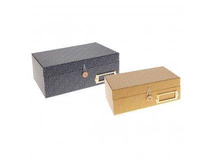 Sada 2 ks papírových krabic na drobné předměty, šperky žluté a šedé s puntíky