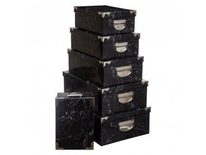 Sada 5 kartonových krabic pro skladování, černá