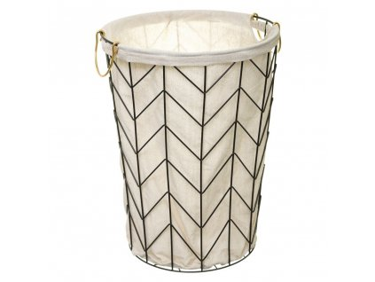 Koš na prádlo ČERNÁ, kovová nádoba, O 38x51 cm