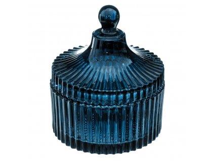 Bižuterní krabička HIVER sklo, průměr 10 cm, modrá