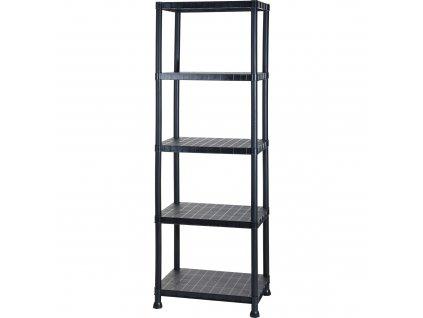 Knihovna 5 úrovní, plast, 60x40x184 cm, černá