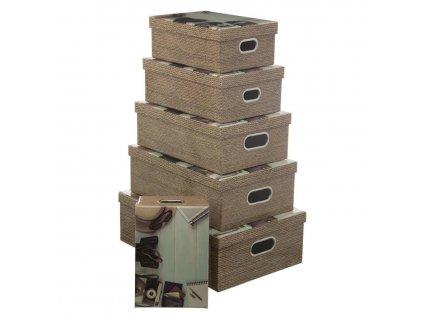 Kartonové krabice VOYAGE, 6 velikostí, barva hnědá
