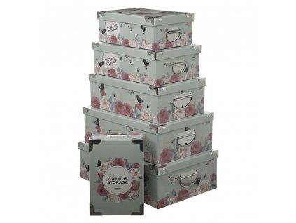 Sada 6 krabic různých velikostí, dekorativní, s víčky, s rukojetí, vinobraní, růžová, skladovaná, organizátor