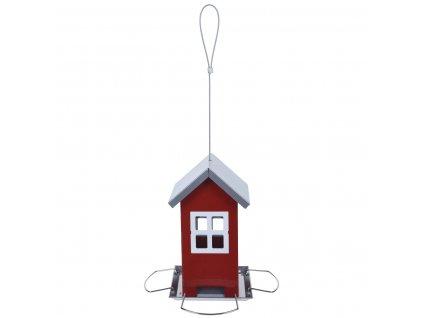 Krmítko pro ptáky HOUSE, kovové, červené