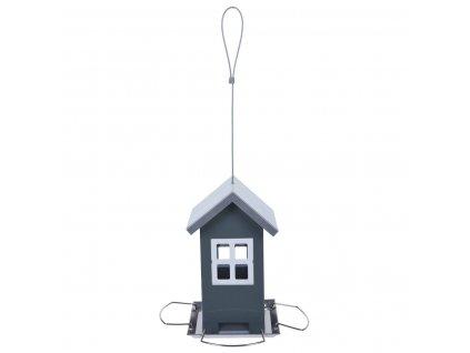 Krmítko pro ptáky HOUSE, kovové, šedé