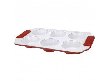 Červená keramická forma na muffiny se silikonovým krytem, 31x18x3 cm