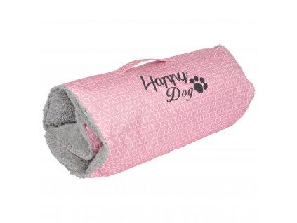 Cestovní podložka pro psy GEOMETRIQUE, 80 x 50 cm, šedá a růžová barva