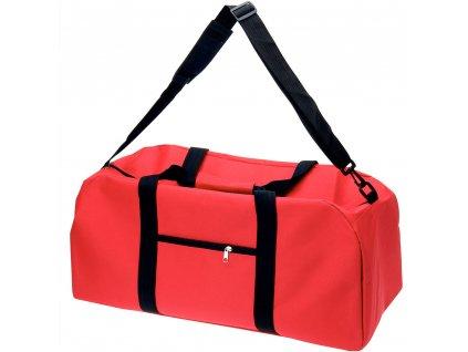 Tréninková taška na rameno z polyesteru, červená barva, 48 l