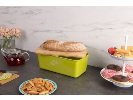 Chléb kontejner s prkénkem, Melamin Chléb v zelené