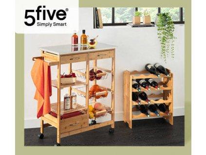 Kuchyňský vozík na kolečkách, bambus, 37 x 76 x 86 cm
