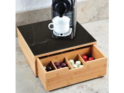 Krabice na kávu kapsle, krabice se zásuvkou a prkénkem, bambus, 2 v 1