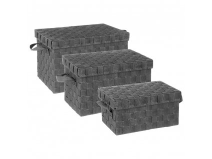 Sada 3 krabic s rukojetí, splétaná, 5five Simple Smart, v tmavě šedé