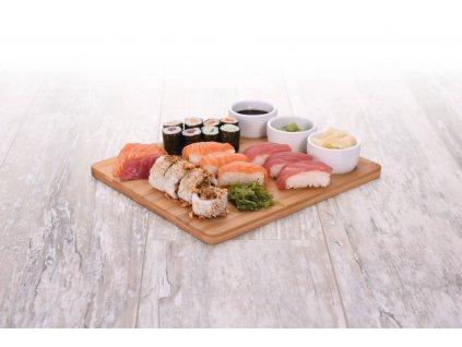 Sada pro servírování svačinu, bambusové prkénko, 3 misky