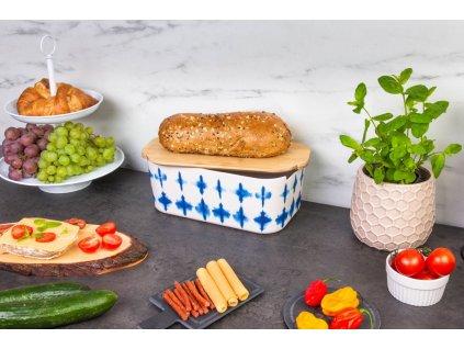 Chléb Bin Chléb Kontejner s Bambusové prkénko 2-v-1 bílé pozadí