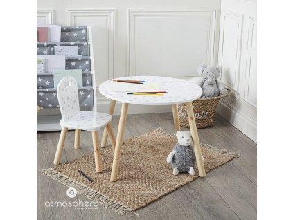 Dřevěný stůl pro děti vzor hvězdičky, Ø 60 x 40 cm, bílý