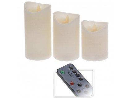 LED dálkové ovládání svíčka, sada 3 svíček s pohybujícím se plamenem, časoměřič