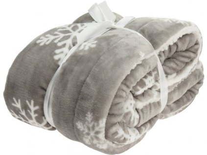 Fleecová deka se sněhovými vločkami, 150 x 130 cm, šedá
