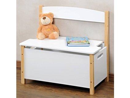 Dětská úložná lavice, bílá, KESPER