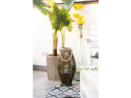 Bambusová lucerna,  O 24 x 48 cm, zelená