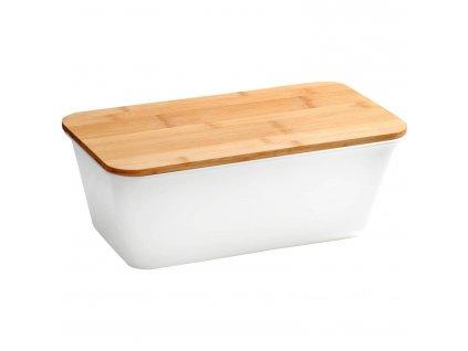 Chlebník s bambusovým víkem, bílý, KESPER