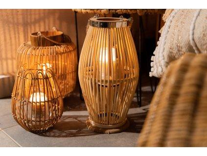 Bambusová lucerna, O 21 x 38 cm, béžová