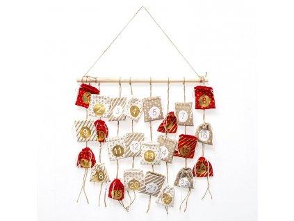 Adventní kalendář s kapsičkami, polyester, 60 cm