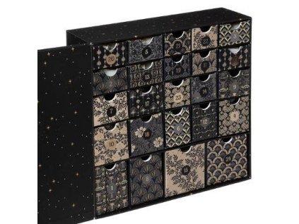 Adventní kalendář se svíčkami, zlato-černý