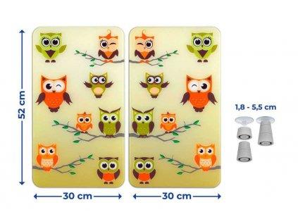 Ochranné skleněné panely OWL CONVENTION na sporák – 2 ks, WENKO