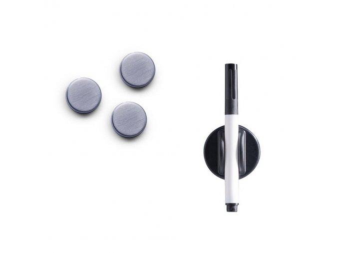 MEMO skleněná tabule na poznámky, bílá + 3 magnety a 4 háčky, 40x20 cm, ZELLER