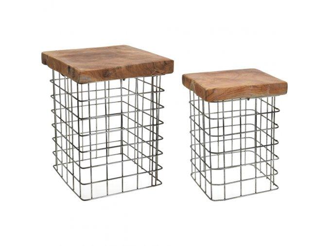 Sada: stolička z přírodního týkového dřeva, obdélníková, podnožka, 2 ks Home Styling Collection