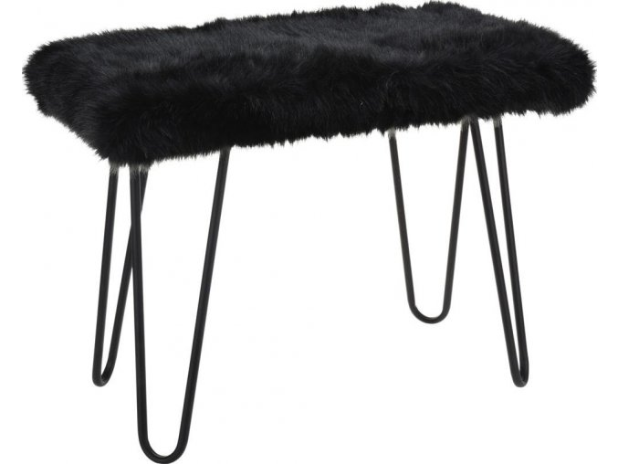 Stolek FUR Design, taburet s kožešinou - černý  Home Styling Collection